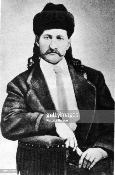Portrait of American cowboy scout professional gambler and gunfighter Wild Bill Hickok while on tour with Buffalo Bill's Wilde West Show early 1870s