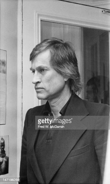 Portrait of American curator and art collector Sam Wagstaff as he attends a gallery exhibition New York New York October 3 1975 The exhibition...