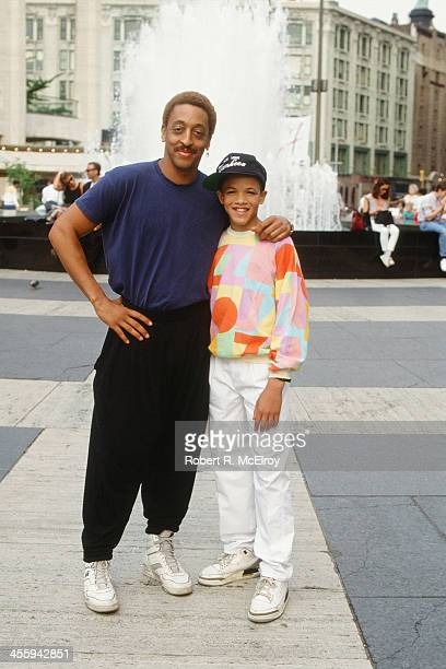 Portrait of American dancer, dance instructor, and actor Gregory Hines with his student, dancer Savion Glover, New York, New York, 1988.