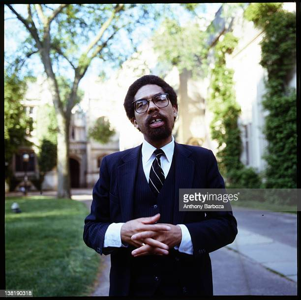 Portrait of American educator activist and author Cornel West as he stands on the grounds of Princeton University where he is a professor Princeton...