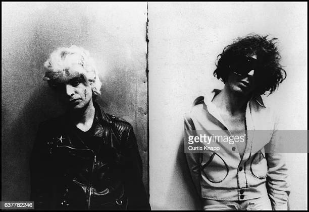 Portrait of American electronic rock group Suicide, Alan Vega and Martin Rev, as they pose at Max's Kansas City nightclub, New York, New York, 1976.
