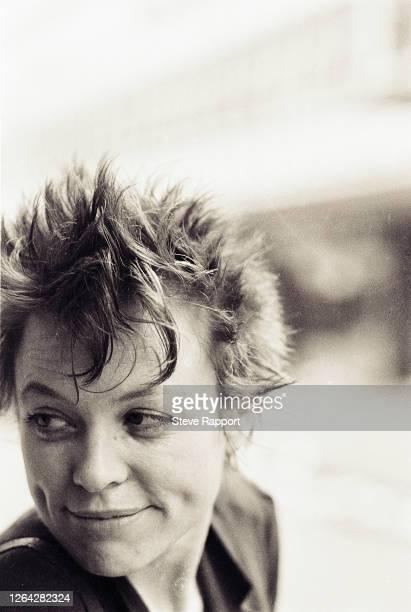 Portrait of American Experimental Electronic Pop musician Laurie Anderson Berwick Street London 10/6/1982