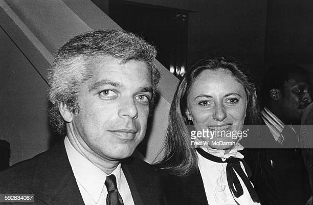Portrait of American fashion designer Ralph Lauren and his wife Ricky at a party New York New York March 21 1978 The party was held in honor of the...