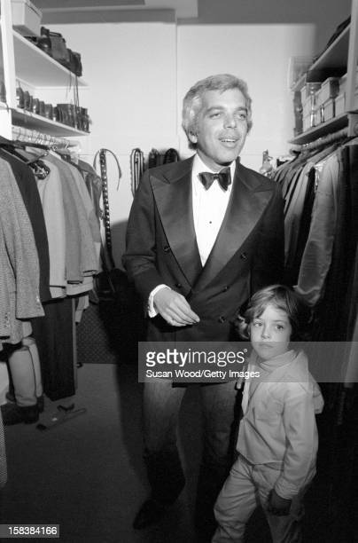 Portrait of American fashion designer Ralph Lauren in a walkin closet as he dresses for a night out New York New York November 1977 He and his wife...