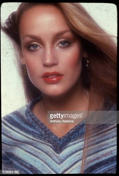 Portrait of American fashion model Jerry Hall, early 1980s.