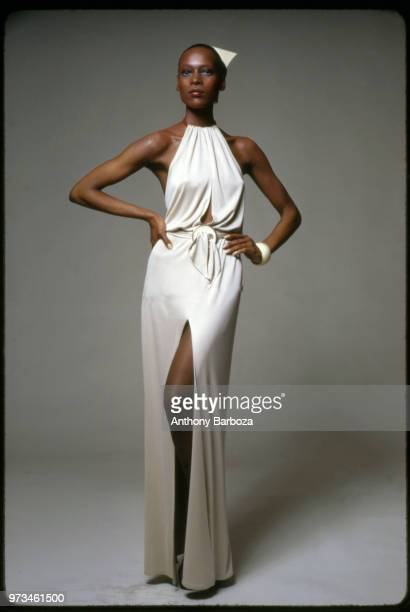 Portrait of American fashion model Naomi Sims as she poses hands on her hips during a session New York New York 1975