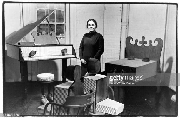 Portrait of American feminist activist and artist Kate Millett as she poses at an exhibition of some of her sculptures at Judson Memorial Church New...