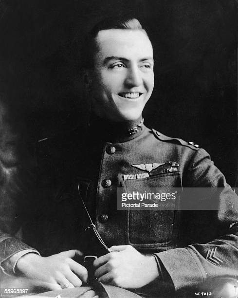 Portrait of American fighter pilot Eddie Rickenbacker a commanding officer in the US 94th Aero Pursuit Squadron during World War I 1910s Rickenbacker...