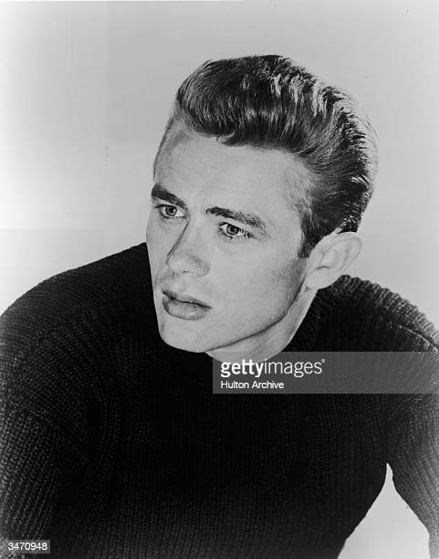 Portrait of American film actor James Dean dressed in a darkcolored sweater early 1950s