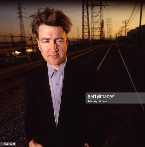 Portrait of American film and television director David Lynch as he poses on railroad tracks Los Angeles California 1989