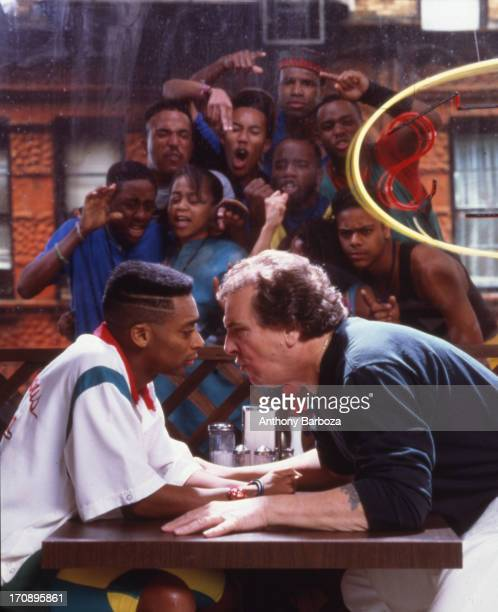 Portrait of American film director and actor Spike Lee and actor Danny Aiello on the set of their film 'Do the Right Thing' New York 1989 Other cast...