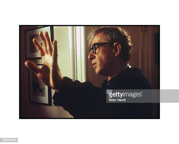 Portrait of American film director Woody Allen as he directs a scene on the set of his film 'Melinda and Melinda' New York early 2000s
