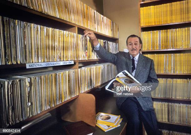 Portrait of American film producer and studio executive Walt Disney as perches on the edge of a table in his research library at Burbank Studios...