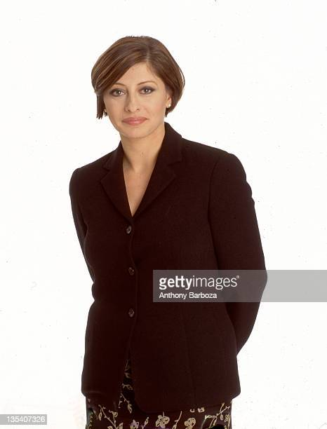 Portrait of American financial journalist Maria Bartiromo as she poses against a white background New York New York 1999