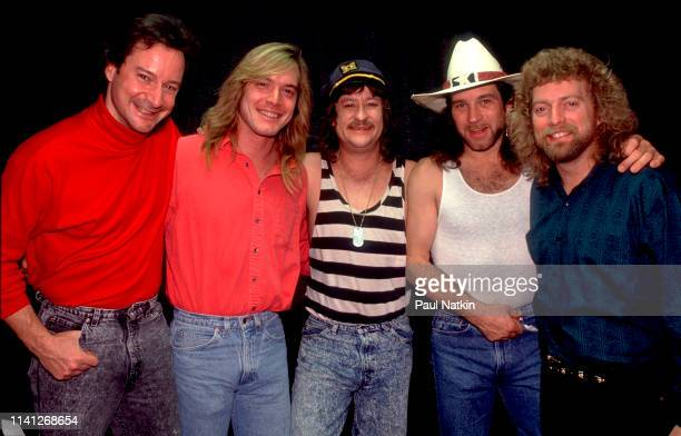 Portrait of American Folk and Country group Pirates of the Mississippi as they pose backstage at the Rosemont Horizon Rosemont Illinois January 31...