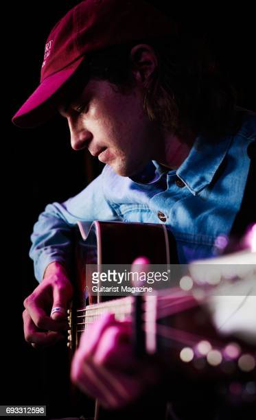 Portrait of American folk musician Ryley Walker, photographed before a live performance at The Globe in Cardiff, Wales, on August 8, 2016.