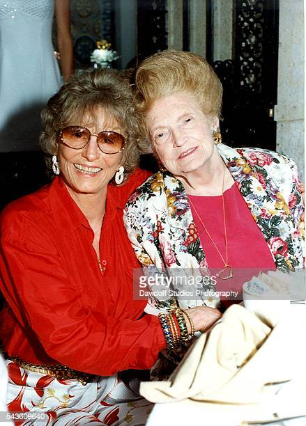 Portrait of American former competative swimmer Marjorie Post Dye and Mary Trump as they pose together at the MaraLago estate Palm Beach Florida 1997...