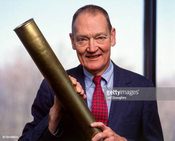 Portrait of American founder and CEO of the Vanguard Company John C Bogle Malvern Pennsylvania 1995 Bogle an amateur astronomer poses with an antique...