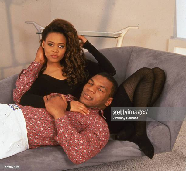 Portrait of American heavyweight boxer Mike Tyson and wife actress Robin Givens Los Angeles California May 1988