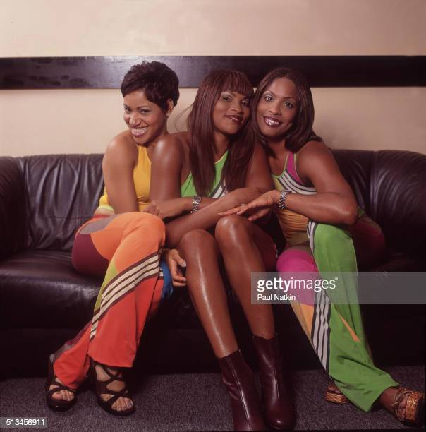 Portrait of American hip hop group Salt 'N' Pepa posed backstage at the World Music Theater Tinley Park Illinois June 29 1997 Pictured are from left...