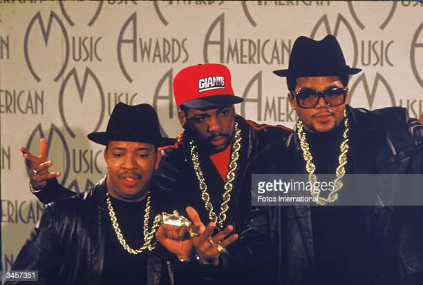 Portrait of American hiphop and rap group RunDMC at the American Music Awards 1980s Left to right Darryl McDaniels Joe Simmons and Jason Mizell