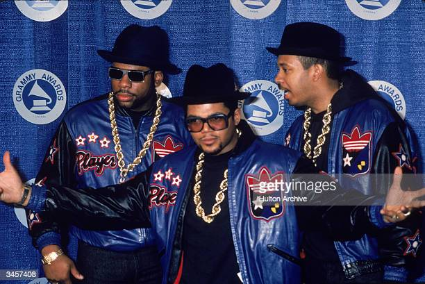 Portrait of American hiphop and rap group RunDMC backstage at the Grammy Awards New York New York March 2 1987 Left to right Joe Simmons Jason Mizell...