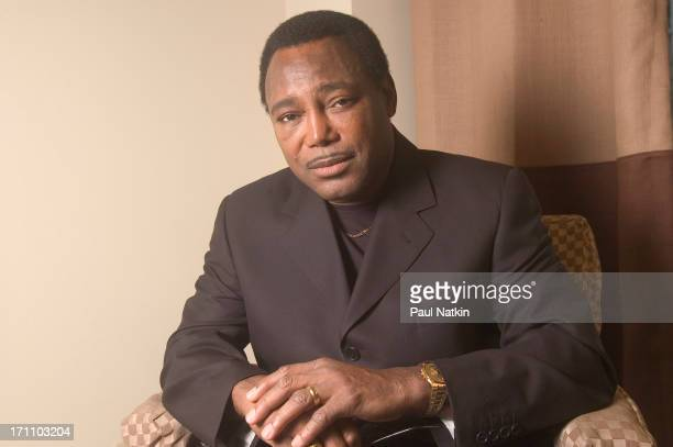 Portrait of American jazz and RB musician George Benson as he poses backstage at the Oriental Theater Chicago Illinois May 1 2004