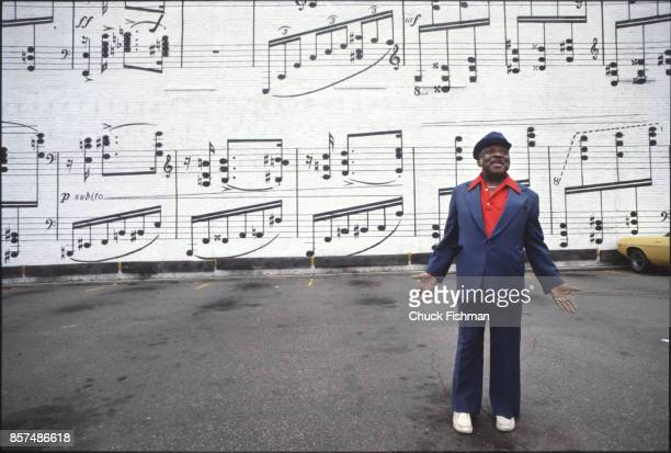 Portrait of American Jazz and Swing musician Count Basie as he stands in front of a mural in a parking lot Minneapolis Minnesota August 1978 The...