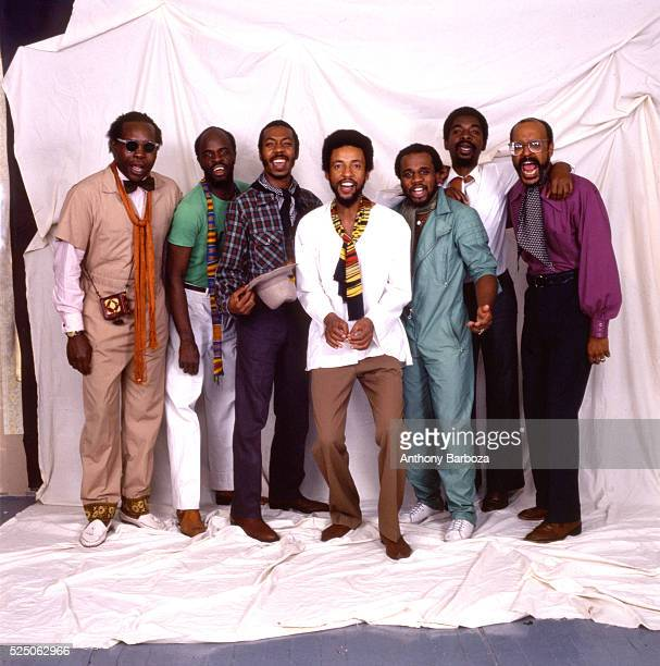 Portrait of American Jazz musician Henry Threadgill as he poses with his sextet New York New York 1980s