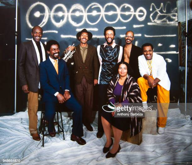 Portrait of American Jazz musician Henry Threadgill as he poses with members of his band Henry Threadgill Sextett New York New York 1980s
