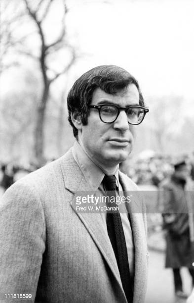 Portrait of American journalist and author David Halberstam at an antiVietnam War march New York New York April 5 1969