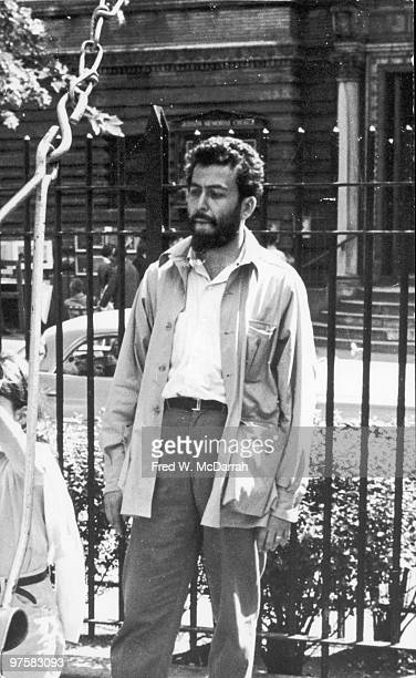Portrait of American journalist and music critic Nat Hentoff as he stands in a playground in Washington Square Park New York New York July 2 1963
