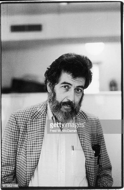 Portrait of American journalist and music critic Nat Hentoff inside the offices of the Village Voice newspaper New York New York October 3 1975