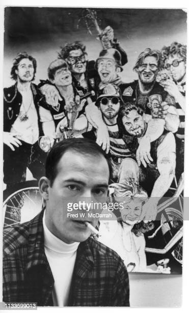 Portrait of American journalist Hunter S Thompson as he attends a release party for his book 'Hell's Angels The Strange and Terrible Saga of the...
