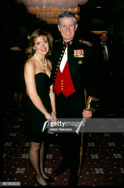 Portrait of American journalist, NBC correspondent Linda Vester and Commander in Chief of United States Central Command General Joseph P Hoar as they...