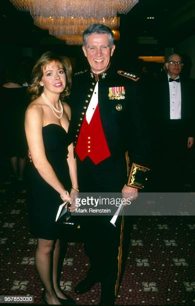 Portrait of American journalist NBC correspondent Linda Vester and Commander in Chief of United States Central Command General Joseph P Hoar as they...
