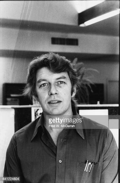 Portrait of American journalist Pete Hamill at his desk at the offices of the Village Voice New York New York October 3 1975