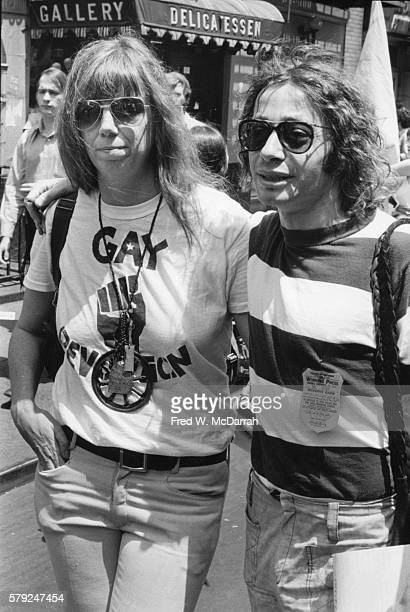 Portrait of American journalists Jill Johnston and Arthur Bell during the second annual Stonewall anniversary march then known as Gay Liberation Day...
