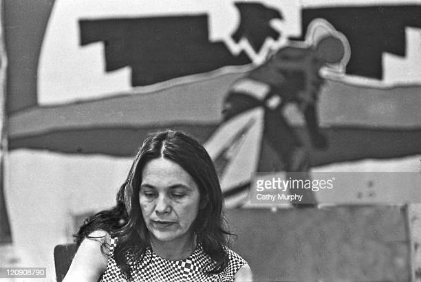 Portrait of American labor activist and cofounder of the United Farm Workers of America Dolores Huerta at the UFW headquarters Keene California mid...