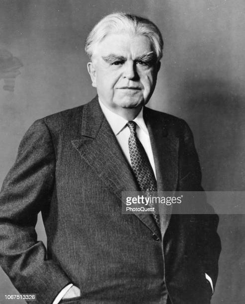 Portrait of American labor leader and President of the United Mine Workers Union John Llewellyn Lewis as he poses with his hands in his suit pockets,...