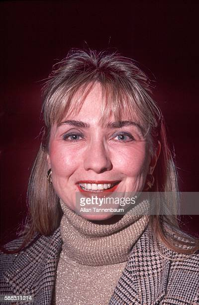 Portrait of American lawyer Hillary Clinton at a Presidential campaign rally for her husband New York New York January 14 1992