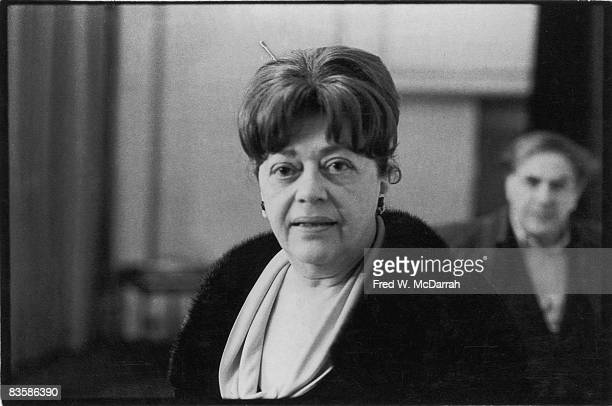 Portrait of American literary critic Diana Trilling at a panel discussion at Town Hall New York New York April 30 1971