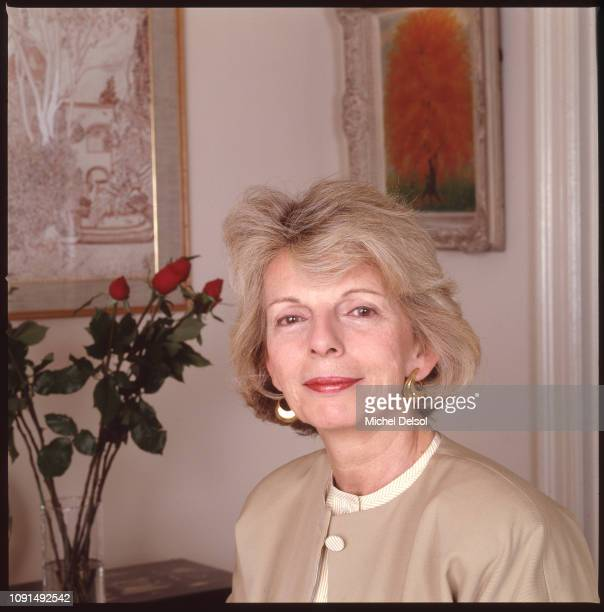 Portrait of American magazine editor Grace Mirabella as she poses in her home New York New York February 16 1989