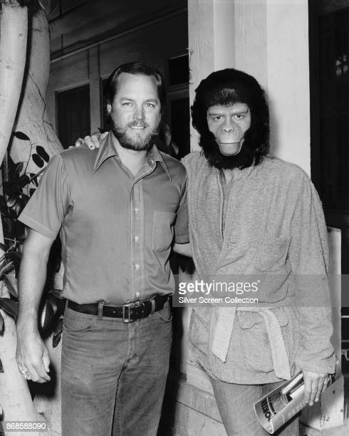 Portrait of American makeup artist Fred Blau and EnglishAmerican actor Roddy McDowall as they pose backstage for an episode of the television show...