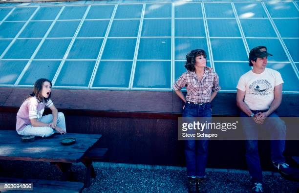 Portrait of American married couple actress Jane Fonda and politician activist Tom Hayden outdoors with their daughter Vanessa Vadim Santa Barbara...