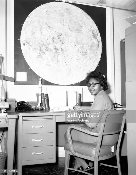 Portrait of American mathematician and scientist Jeanette Scissum as she sits at a desk in NASA Marshall Space Flight Center Huntsville Alabama 1960s