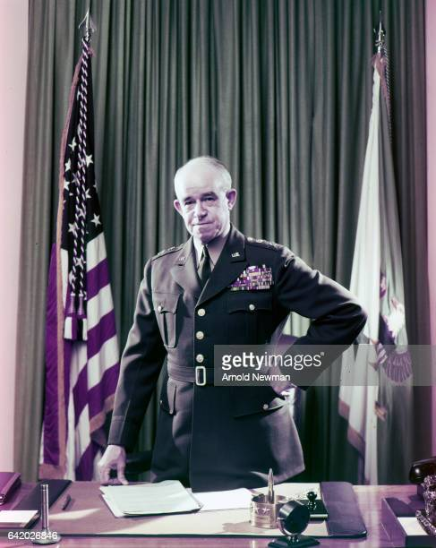 Portrait of American military commander General Omar Bradley in his dress uniform as he poses behind his desk at the Pentagon Washington DC 1951...