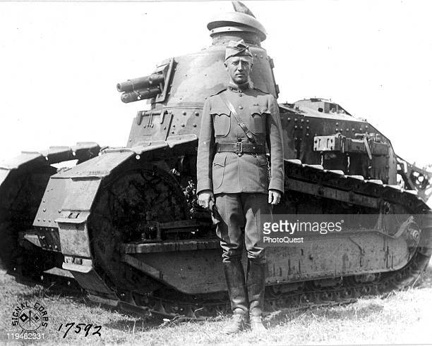 Portrait of American military commander Lieutenant Colonel George S Patton at the Tank Corps School near Langres France July 1918
