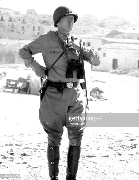 Portrait of American military commander Lieutenant General George S Patton as he stands on a beach during the campaign to liberate Sicily Italy 1943