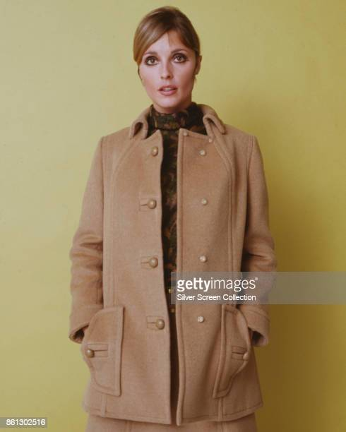 Portrait of American model and actress Sharon Tate her hands in her coatpockets as she poses against a yellow background late 1960s